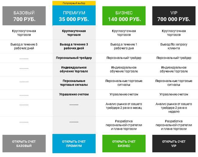 Типы счетов компании Бинариум