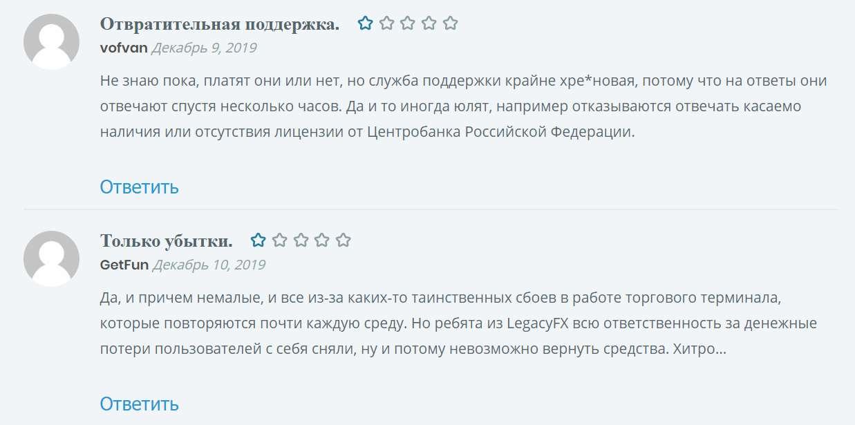 Обзор и отзывы на LegacyFX. Псевдоброкер прячется в офшорах.